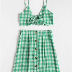 Zaful green plaid set